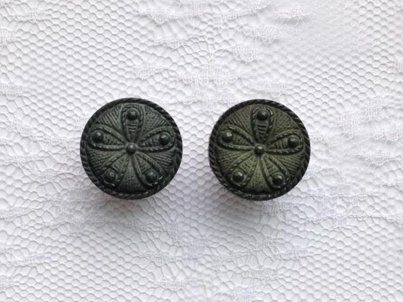 58 12mm 16mm 916 14mm LAST PAIR- Dark Green Flower Design Button Pair Plugs Gauges Size: 12