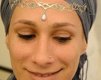 silver tiara with Rainbow-Moonstone drop