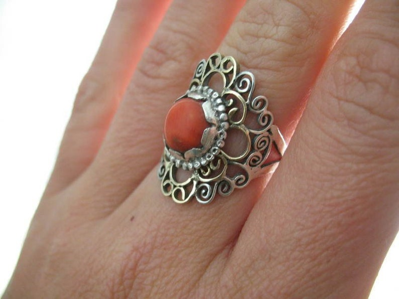 silver and gold ring with Coral image 0