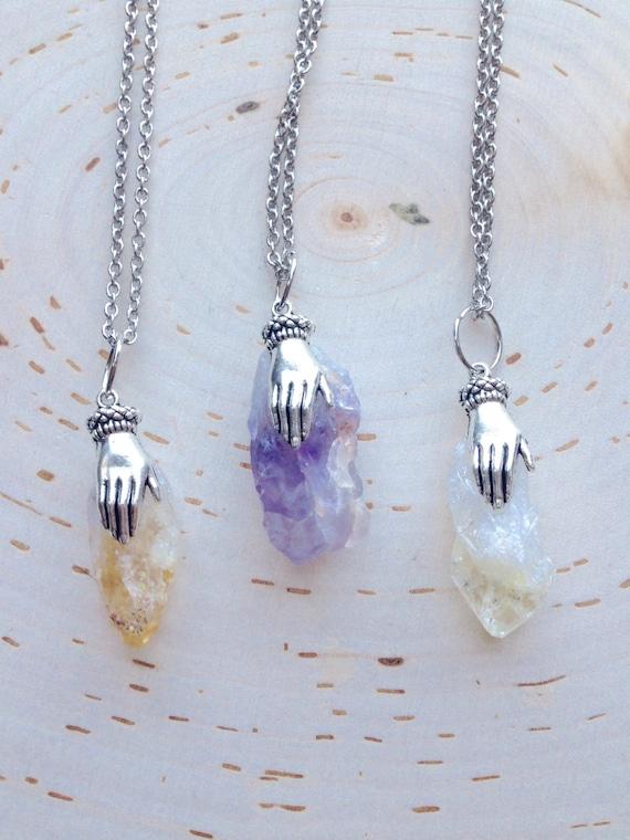 healing crystals and stones quartz crystal pendant blue aqua quartz protection ON SALE Healing Crystal Necklace,quartz crystal point