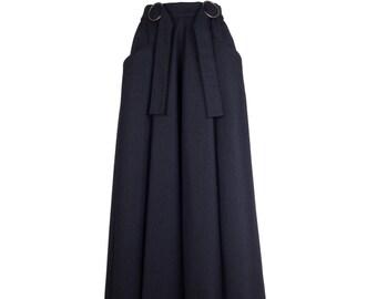 Jupe maxi noir avec poches, longues jupe MARLA, jupe de laine noire, jupe cercle, fait sur mesure sur commande, jupe maxi pour les femmes