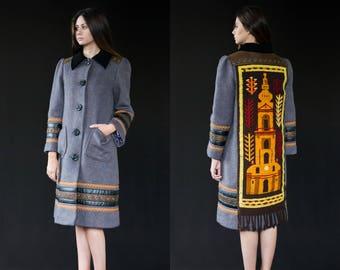 Manteau d'hiver pour femmes - pièce unique de créateur, manteau en laine, recyclé, matériaux d'époque, manteau cousues à la main, vêtement de mode lent, Bartinki