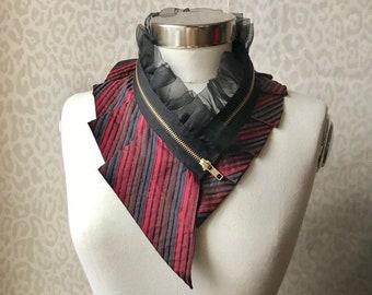 Silk collar necklace, silk scarf necklace, silk collar, women's collar, bib necklace, silk necklace, women's accessories #288