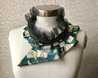 Silk collar necklace, silk scarf necklace, silk collar, women's collar, bib necklace, silk necklace, women's accessories #272
