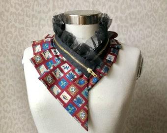 Silk collar necklace, silk scarf necklace, silk collar, women's collar, bib necklace, silk necklace, women's accessories #271