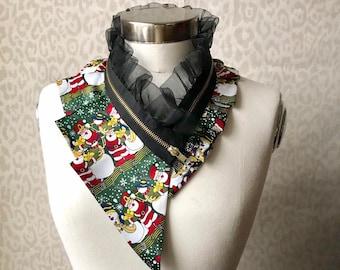 Silk collar necklace, silk scarf necklace, silk collar, women's collar, bib necklace, silk necklace, women's accessories #283