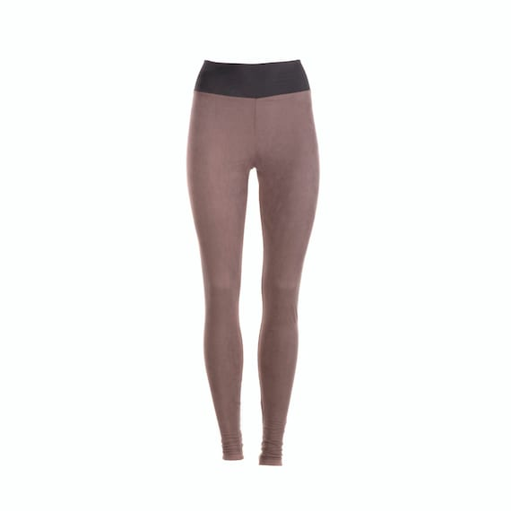 Womens Leggings Size XL Vegan Suede Leggings Yoga Leggings
