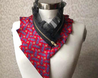 Silk collar necklace, silk scarf necklace, silk collar, women's collar, bib necklace, silk necklace, women's accessories #279