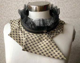 Silk collar necklace, silk scarf necklace, silk collar, women's collar, bib necklace, silk necklace, women's accessories 290