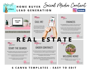 Successful Real Estate Lead Generation | Social Media Content | Home Buyer Leads | Canva Templates | Marketing | Easy to Edit | Free Logo