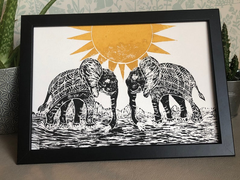 Lino Print Elephant relief print A4 Linocut Elephant Lino print linoleum print on acid free paper. Limited Edition