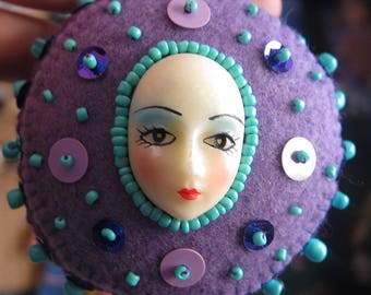 Vintage Beaded Doll Face Ornament