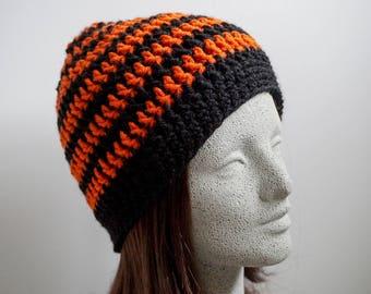 a0c4a0e51a4 Black Orange Striped Beanie Medium Weight Beanie Black and Orange Spiced  Pumpkin Adult Halloween Hat Halloween Beanie Giants Orioles Bengals