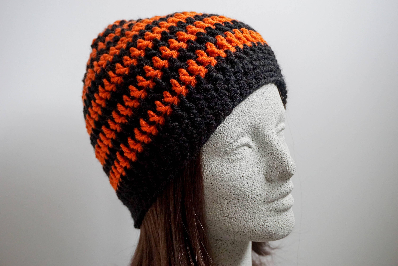 f8560185d3f Black Orange Striped Beanie Medium Weight Beanie Black and