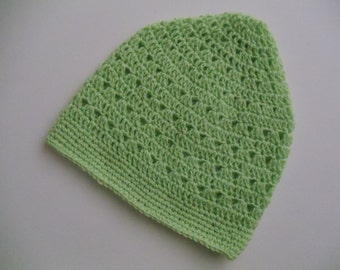 Green Crochet Beanie Lime Green Crochet Hat Light Weight Beanie