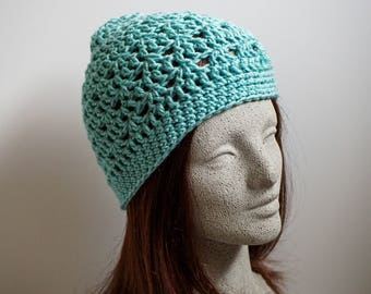Seafoam Green Crochet Beanie Medium Weight Beanie Silvery Blue Green Crocheted Hat Womens Beanie Hat Teen Girl Beanie Hat