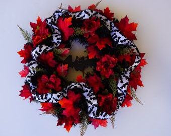 Halloween Vampire Bat Wreath Black Red White Gothic Fall Wreath Halloween Door Wreath