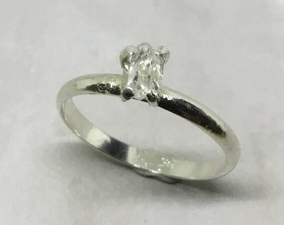 Herkimer Diamond (Crystal) Solitaire Ring, Sterling Silver, Promise Ring, Engagement Ring, Birthstone Ring, April Birthstone, For Her