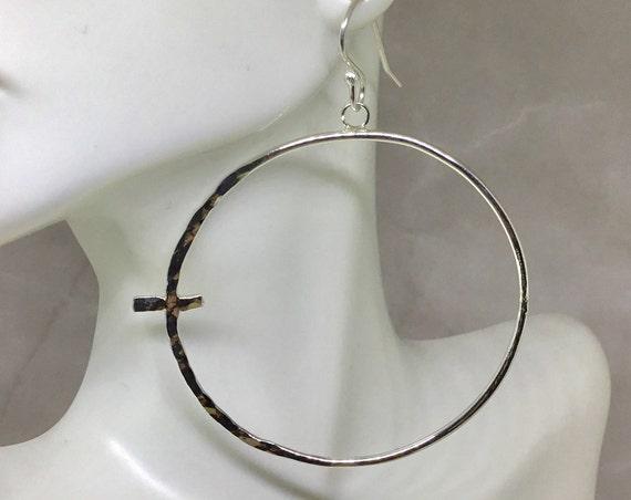 Hammered Sterling Silver Sideways Cross Hoop Earrings, 925 Silver, Hand Forged, Metalcraft, Silver Earrings, Hoop Earring, Witness Jewelry