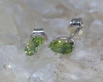 Peridot Earrings, Sterling Silver, August Birthstone, For Her,  Minimalist Jewelry, Dainty Jewelry