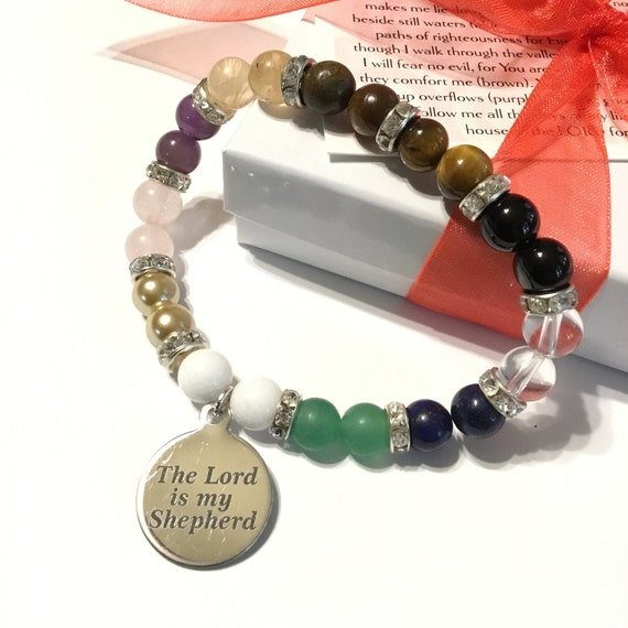 Psalm 23 Beaded Bracelet, Faith Jewelry, Christian Jewelry, Witness Jewelry, Beaded Jewelry, For Her, Gifts Under 20 dollars