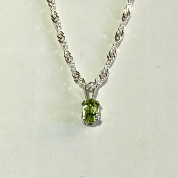 Dainty Peridot Necklace, Sterling Silver, August Birthstone, For Her, Dainty Jewelry, Minimalist Jewelry