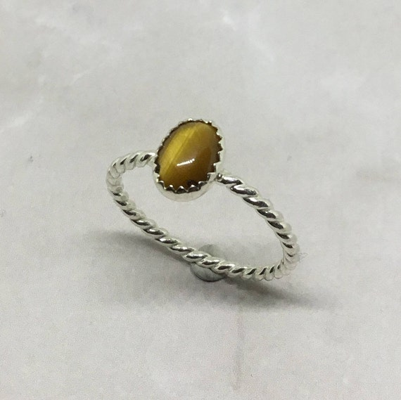 Genuine Tigers Eye Gemstone Ring, Sterling Silver, Artisan Jewelry, 925 Silver, Minimalist, Handcrafted, Metalcraft, Handmade USA