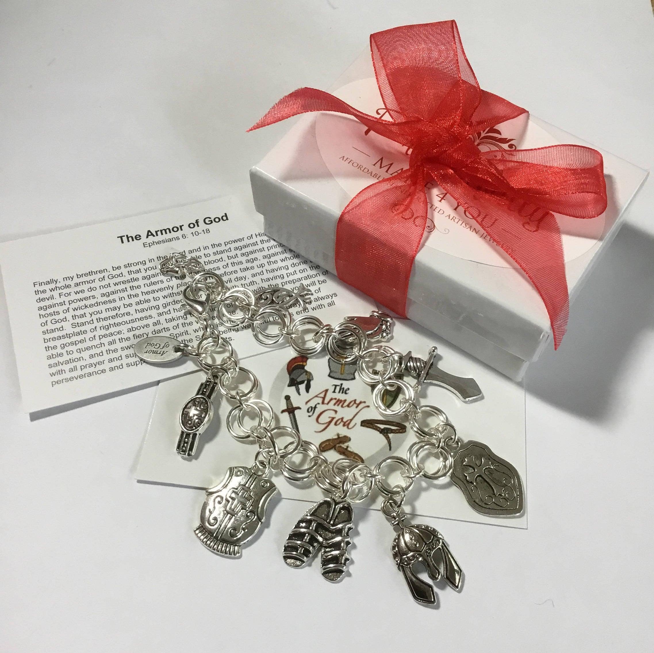 Armor of God Charm Bracelet, Faith Jewelry, Witness Jewelry ...