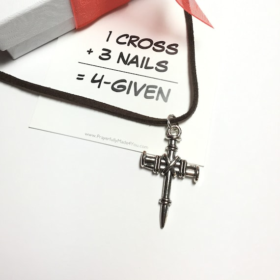 Three Nails Cross Necklace, Witness Jewelry, Christian Jewelry, Men's Christian Jewelry, Cross Necklace, Under 10 Dollars, Guy Jewelry