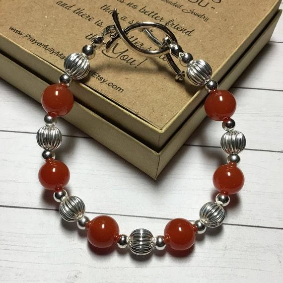 Autumn Orange Beaded Bracelet