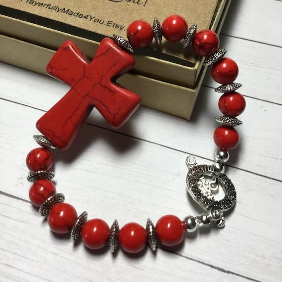 Red Cross Beaded Bracelet