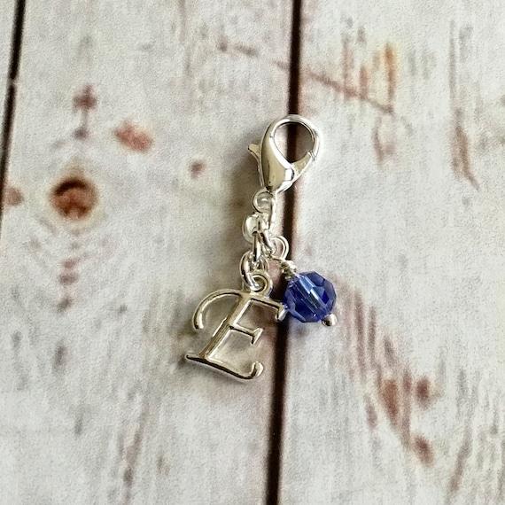 Swarovski Crystal w/Letter Clip On, Charm Bracelet Accessory, Zipper Pull, Bling Accessory