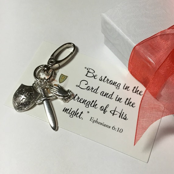 Armor of God Clasp, Christian Accessories, Religious Accessory, Witness Jewelry, Ephesians 6-10, Purse Accessory, Men's Key Clasp