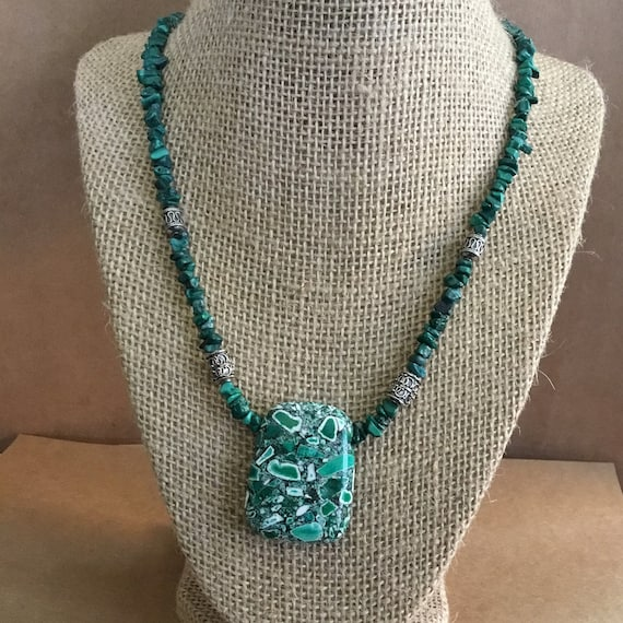 Malachite Composite Stone Necklace, Green Necklace, Gemstone Necklace, For Her, Gemstone Jewelry, Under 30 Dollars