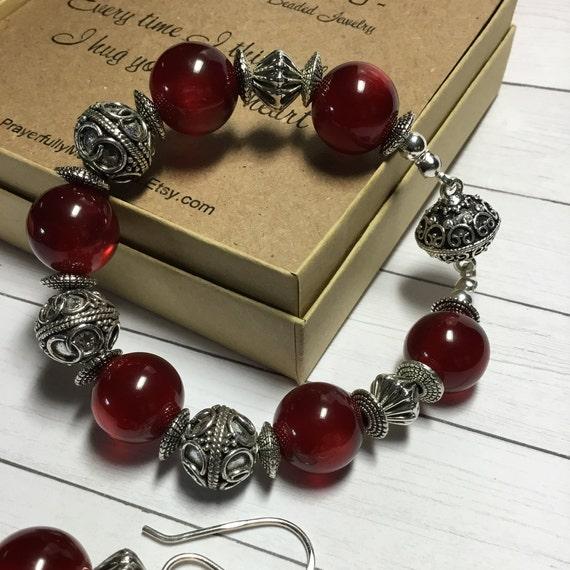 Deep Red Chunky Beaded Bracelet
