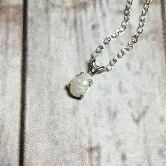 Natural Australian Opal Necklace, Sterling Silver, October Birthstone, Gemstone Jewelry, under 50 dollars, For Her