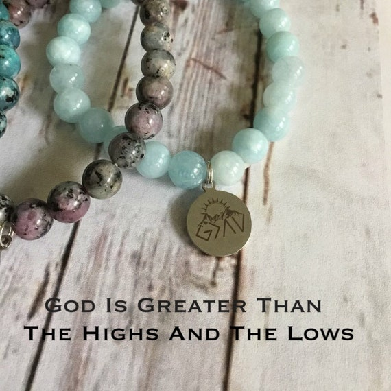 God is Greater than the Highs and Lows Stretch Bracelet, Natural Aquamarine, Dark Apitite, Spot Charoite,