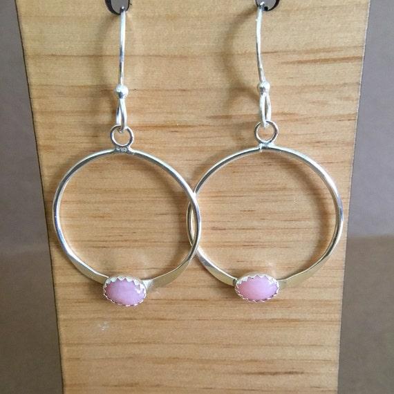 Opal Hoop Earring, Pink Opal, Hand Forged, Metalcraft, 925 Silver, Hoop Earring, SRAJD, October Birthstone, Under 30 Dollars