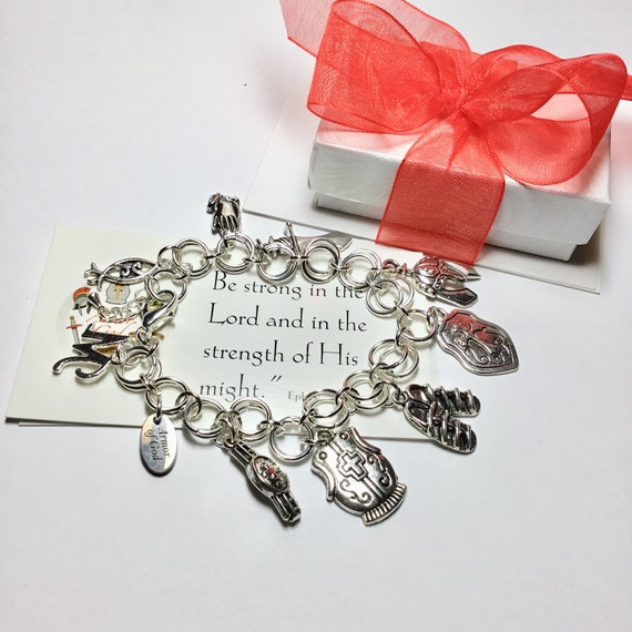 Armor of God Charm Bracelet, Faith Jewelry, Witness Jewelry, Cristian Jewelry, Full Armor of God, Bible Study, Charm Bracelets, Under 20