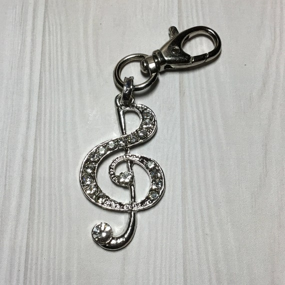 Treble Clef Key Ring, Music Accessories, Key Clip, Personalize, Under 10 Dollars