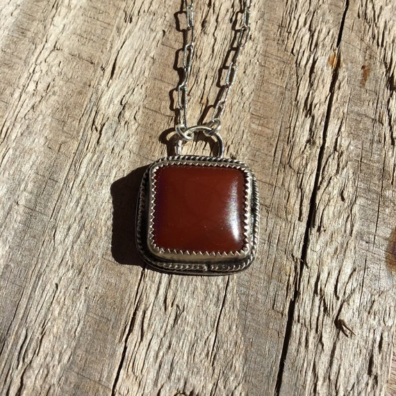 Carnelian Necklace, Metalcraft, Silversmith, 925 Silver, Unique Jewelry, Under 25 Dollars, For Her
