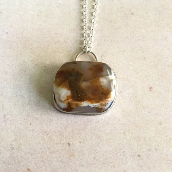 Plume Agate, One of A Kind, SRAJD, Metalcraft, Silversmith, 925 Silver, Unique Jewelry, Under 30 Dollars