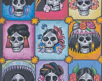By Yard-Regent Skull Halloween Knifty knit fabric Alexander Henry N8446B Pink