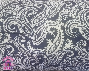 Blue Paisley Damask Cotton Flannel Fabric By The Yard