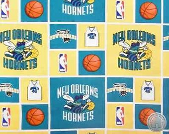 NBA New Orleans Hornets Throwback Block Cotton Fabric by the Yard 30daf1760c8b9