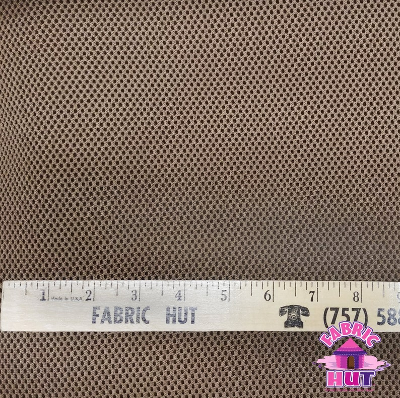 Spacer Mesh Faced Brown Polyester Fabric by the Yard