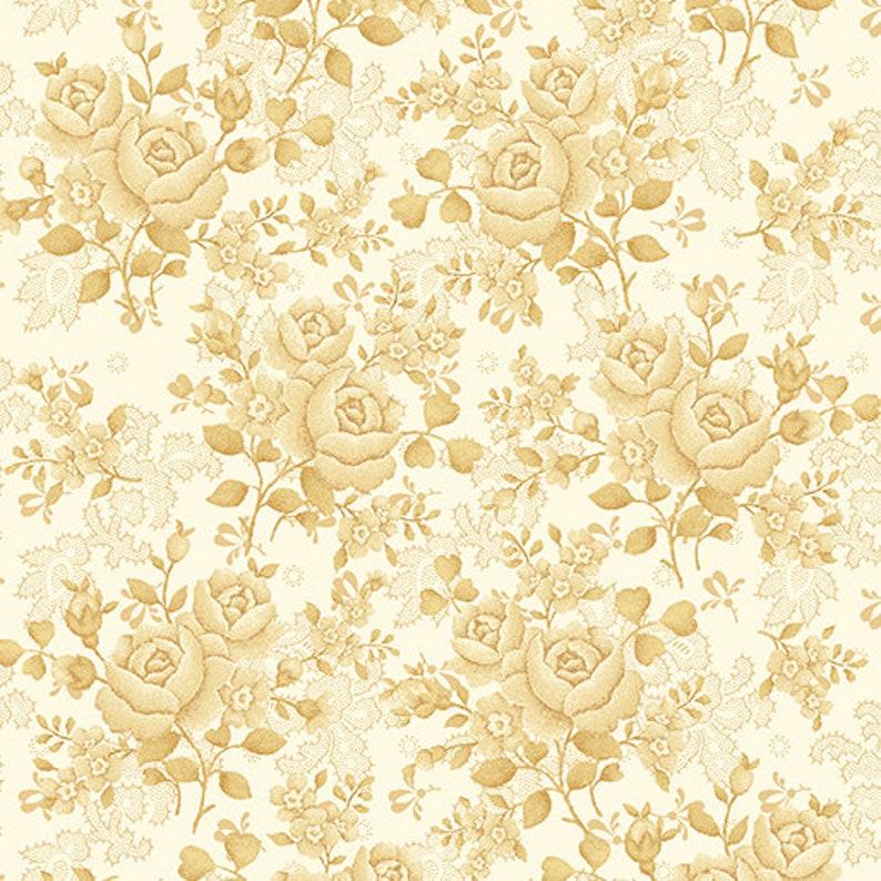 Benartex Studios Homestead Wide Climbing Rose Ecru 110 Cotton Fabric by the Yard