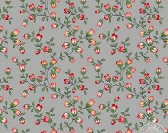 136000028 - Sidewalk Cafe Gray Buds Fabric - Sold by the yard