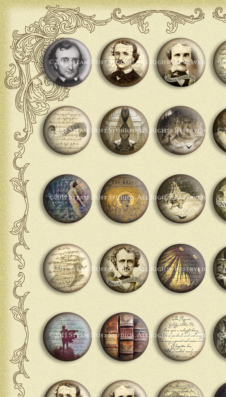 1-Inch Circles Victorian Goth Textured Images Digital Collage Sheet Instant Download /& Print Edgar Allan Poe