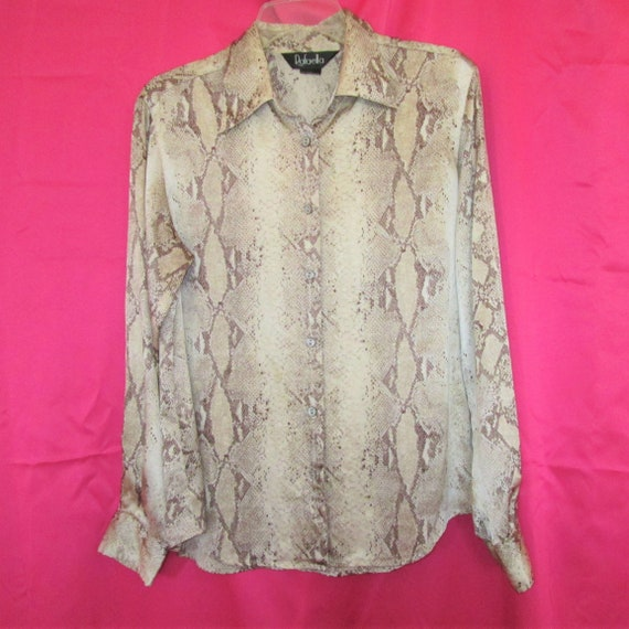 1990s vintage silk snakeskin animal print blouse s